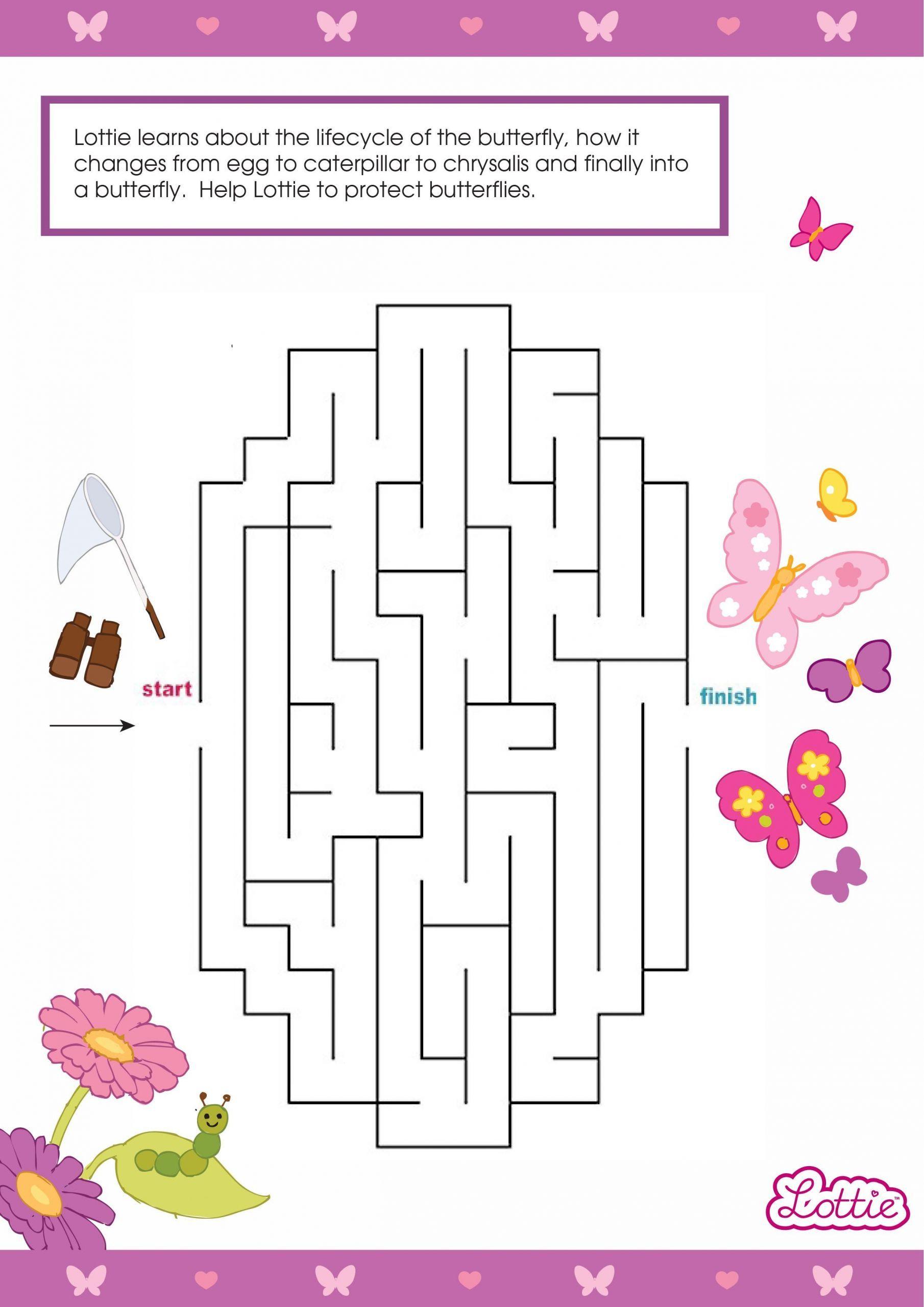 2 Princess Maze Preschool Worksheets Butterfly Maze In