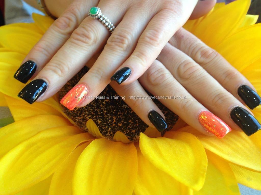 Acrylic Nails With Black Gelish Gel Polish Bright Orange On Ring Fingers