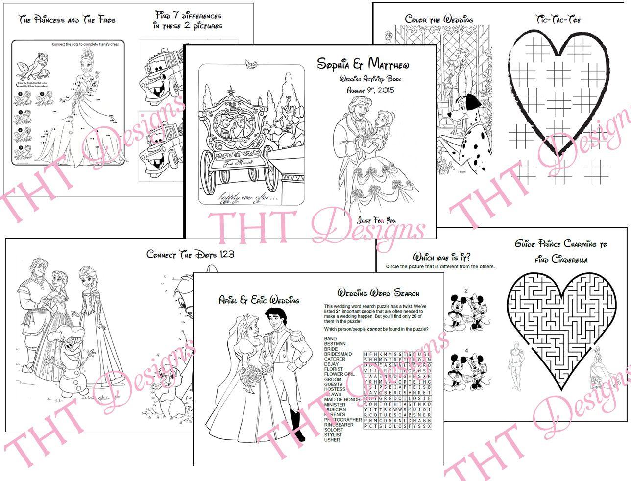Disney theme wedding activity book printable wedding printable