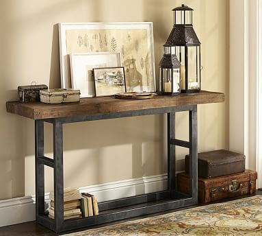 Griffin Reclaimed Wood Wrought Iron Console Table Console