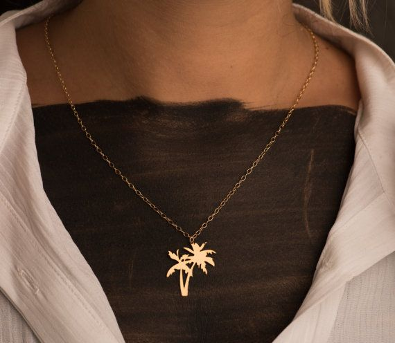 ce0b7d6393e Gold Palm Trees Necklace Palm Tree Sterling Silver Necklace Tree ...