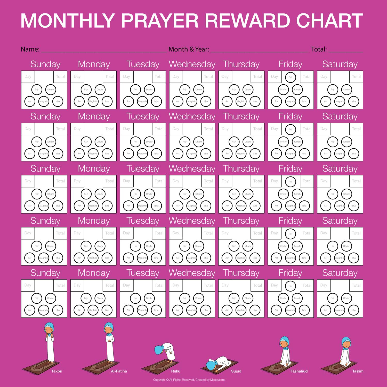 Monthly Prayer Reward Chart