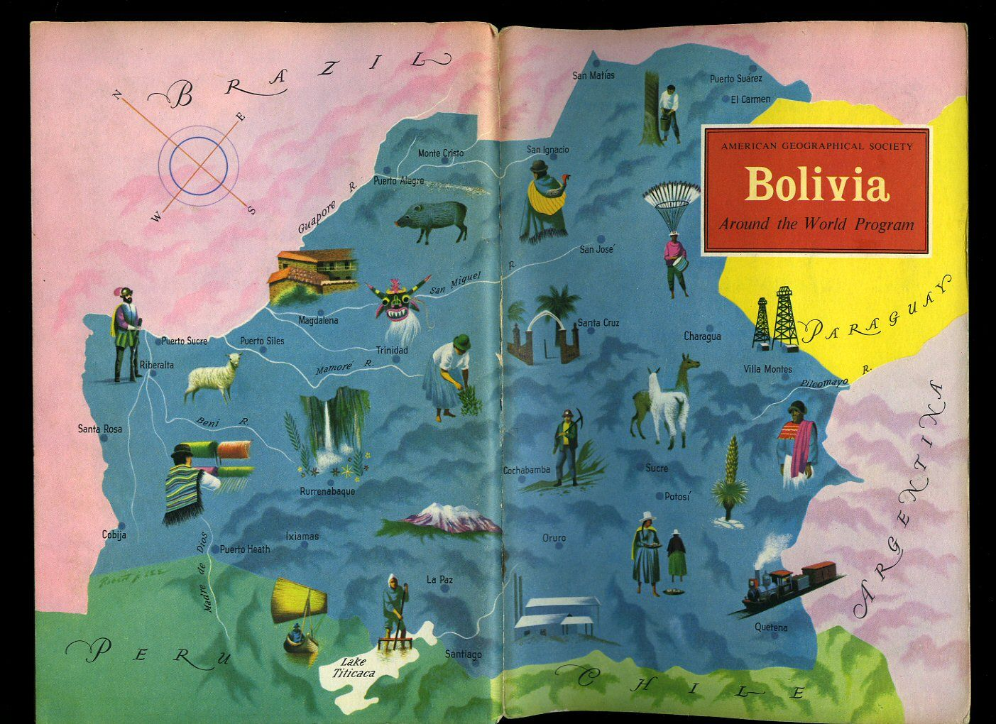 Bolivia american geographical society around the world program bolivia american geographical society around the world program vintage map book cover gumiabroncs Image collections
