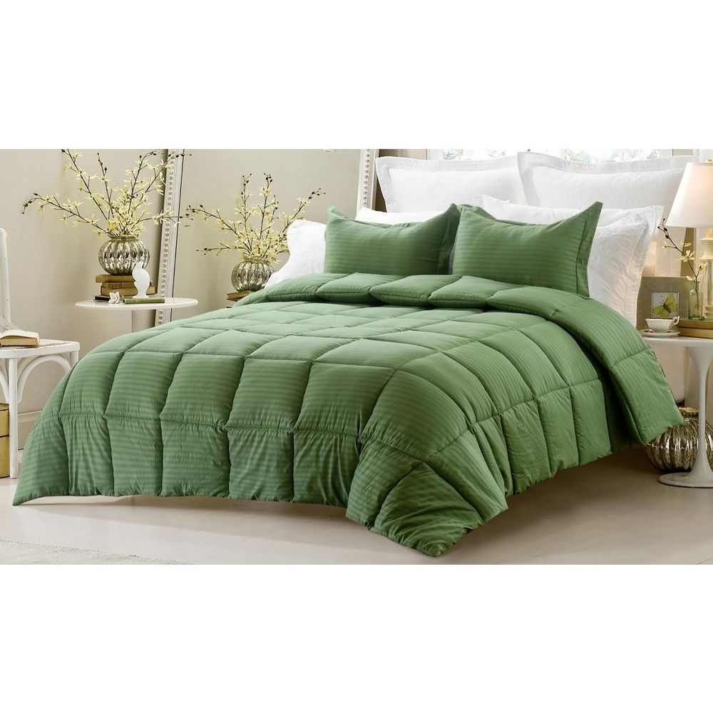 Luxurious Overstuffed Comforter Set Overfilled Green Microfiber Polyester Contemporary Green Comforter Sets Green Comforter Comforter Sets
