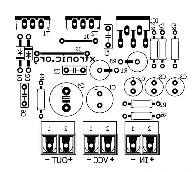 tda2030   transistors bd908  bd907 - 18w hi-fi audio amplifier