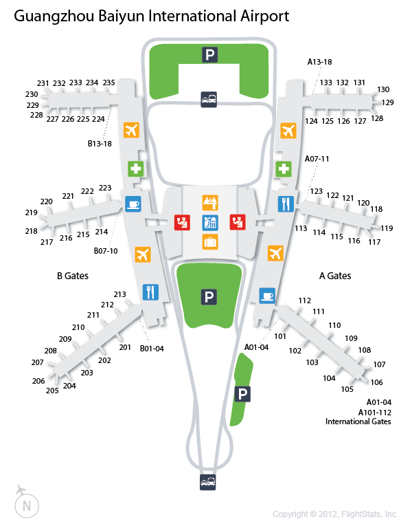 CAN) Guangzhou Baiyun International Airport Terminal Map | airports ...