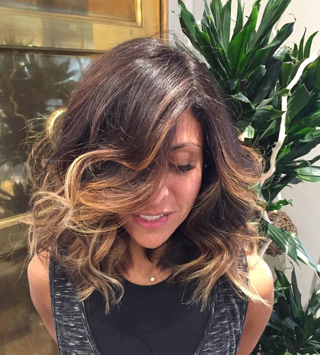 Thick Bouncy Hickory Brown Hair With Waves Layers And Caramel Balayage
