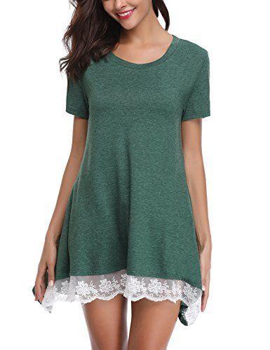 Shirt Manches Femme Tee Blouse Tunique Courtes Dentelle Ample Robe 0wnPOXN8k