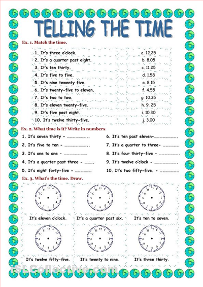 TELLING THE TIME worksheet - iSLCollective.com | Telling Time ...