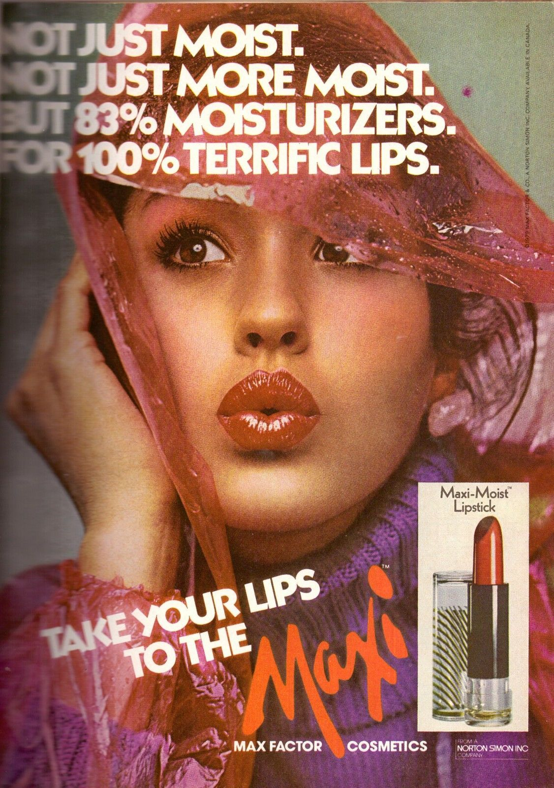 1979 Max Factor Cosmetics Janice Dickinson Print Ad