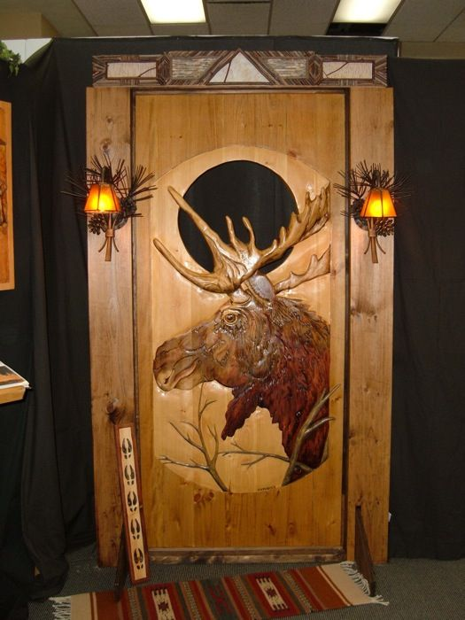 Carved wood door moose in 2018 for the home for Interior cabin doors