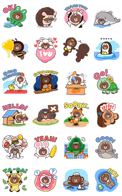 It May Be A Jungle Out There But No Need To Fear This One Is Full Of Adorable Jungle Brown Characters Line Sticker Line Friends Illustration Character Design
