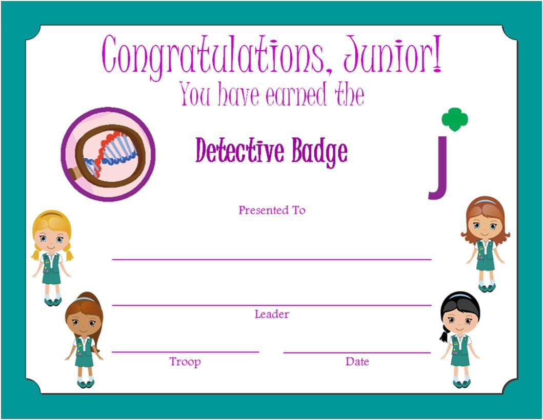 Junior Detective Badge Certificate