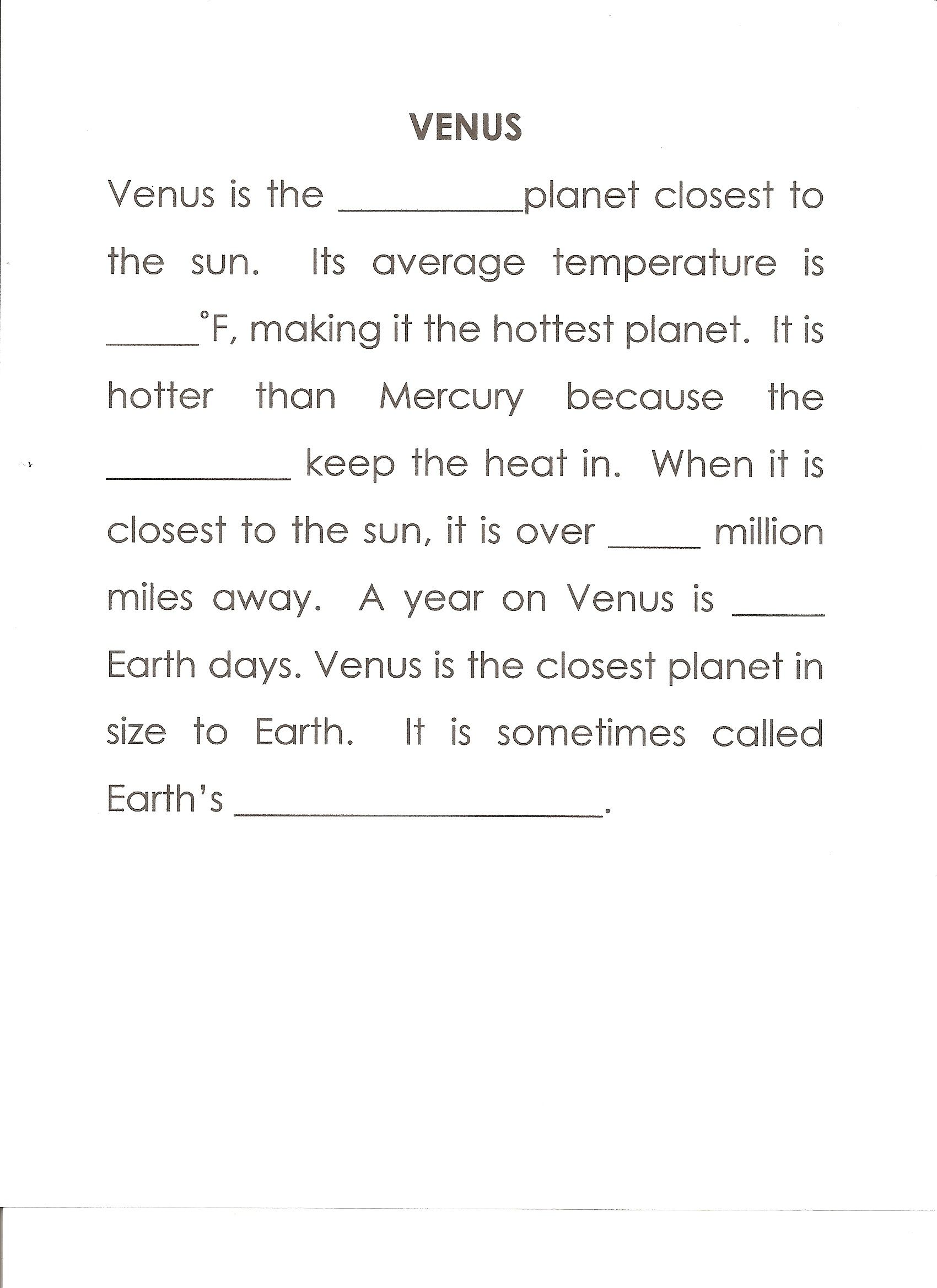 Venus Worksheet Answers Second 864 Clouds 67 224 Sister Planet Word Puzzles For Kids Homeschool Science Word Puzzles [ 2338 x 1700 Pixel ]