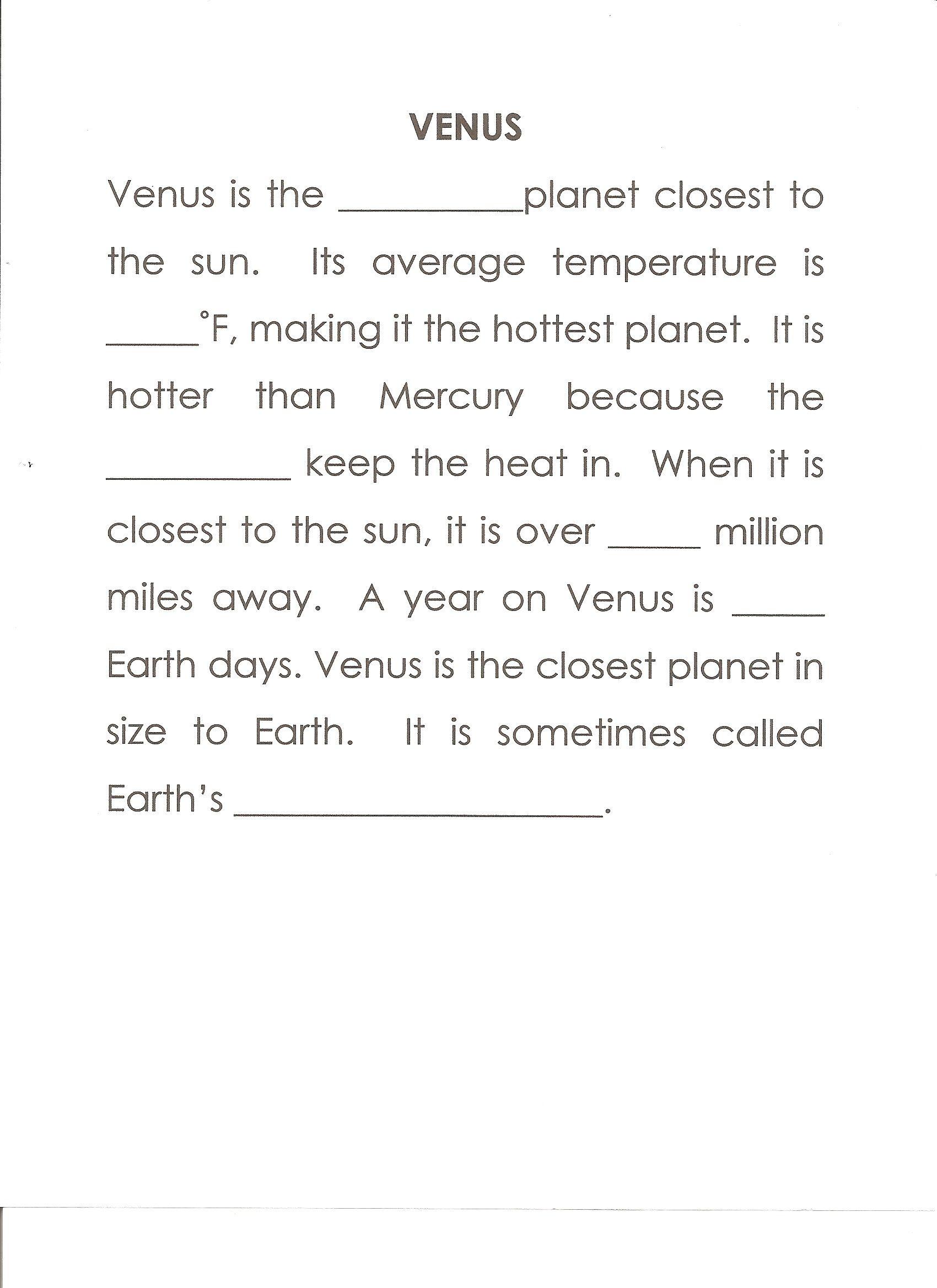 Venus Worksheet Answers Second 864 Clouds 67 224