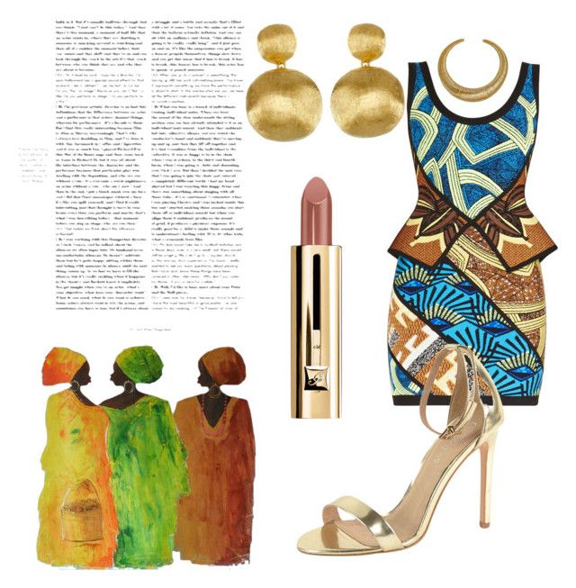 """""""African Queen"""" by daijah-escobar on Polyvore featuring Hervé Léger, Marco Bicego, Hissia, J/Slides and NOVICA"""