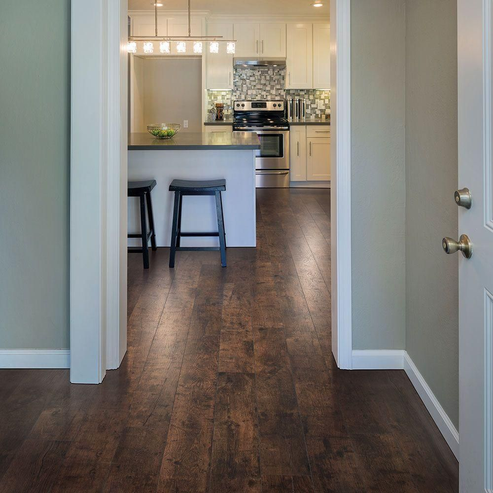 Laminate Flooring In The Kitchen Pergo Xp Rustic Espresso Oak 10 Mm Thick X 6 1 8 In Wide X 54 11