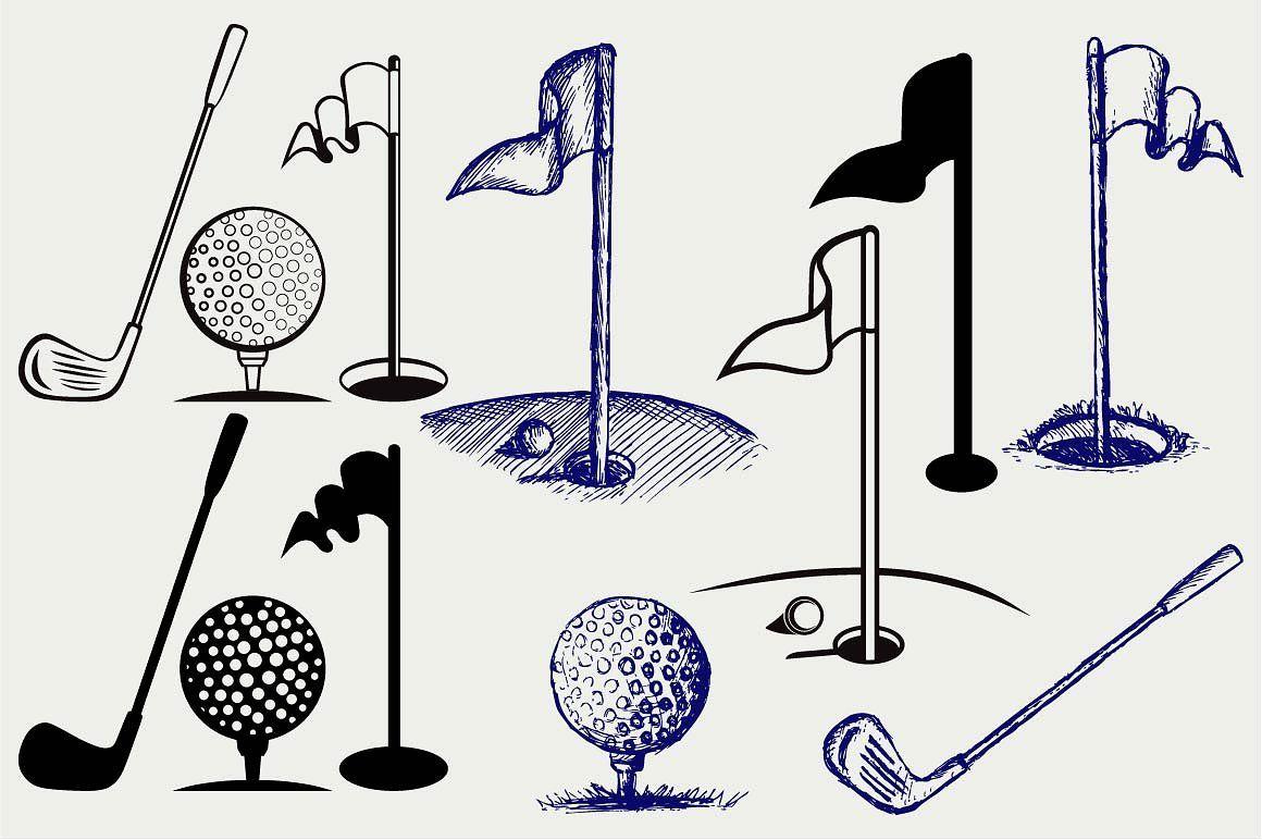 Golf icon set SVG Icon set, Flag drawing, Silhouette