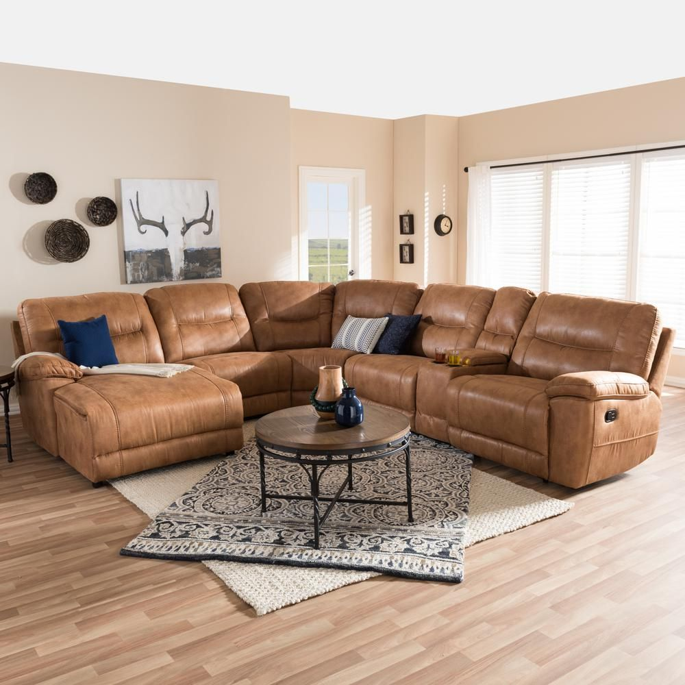 Baxton Studio Mistral 6 Piece Contemporary Tan Faux Leather Upholstered Left Facing Chase Sectional Sofa 28862 7128 Hd In 2020 Reclining Sectional Living Room Sets Living Room Sectional
