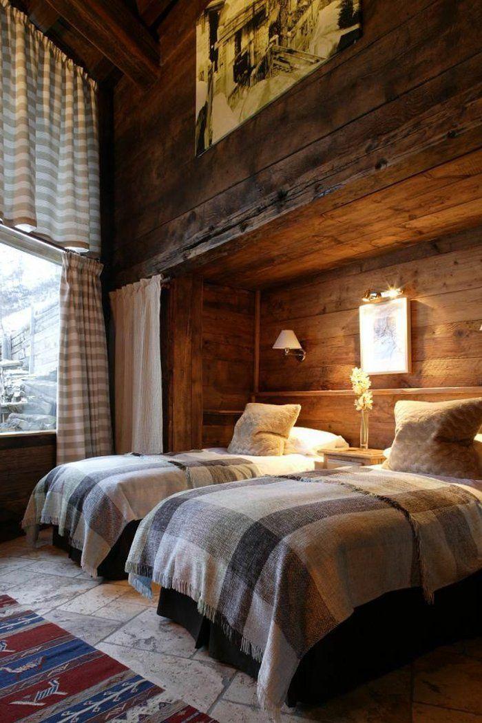 quel type d int rieur pour votre chalet en bois habitable couverture de lit murs en bois et. Black Bedroom Furniture Sets. Home Design Ideas