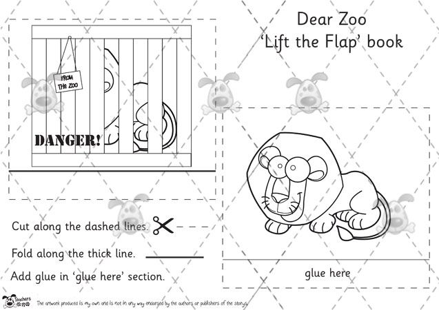 Teachers pet dear zoo lift the flap book templates bw premium printable