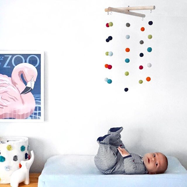 DIY NURSERY MOBILE: Make Your Own Easy, Colorful, Felt Ball And Wood Mobile
