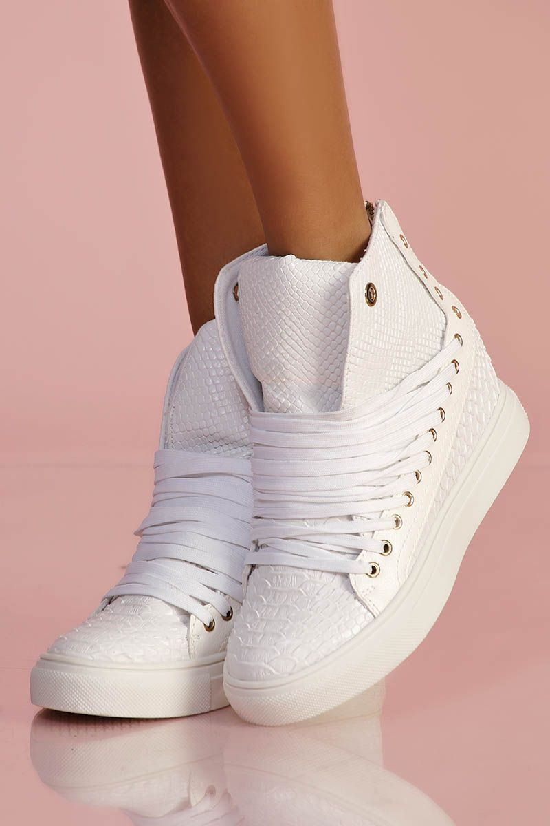 0d85a8e4015cf9 Baskets compensées blanches | FASHION ADDICT all styles ! | Baskets ...