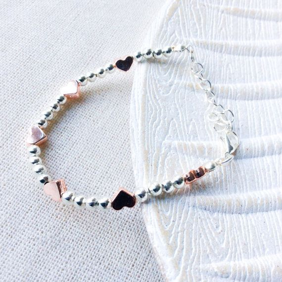 Rose gold and silver beaded bracelet  - love heart Jewellery - special gifts - i love you gift - handmade bracelet - beaded bracelets