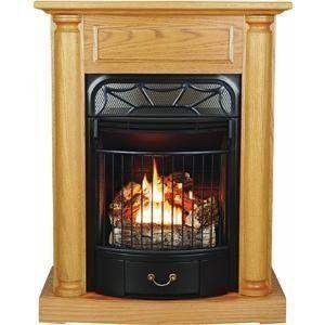 Kozy World Gfd2520 Windsor Gas Fireplace Dual Fuel Traditional Light Oak Duel Fuel Thermostat Hea Vent Free Gas Fireplace Gas Fireplace Mantel Gas Fireplace