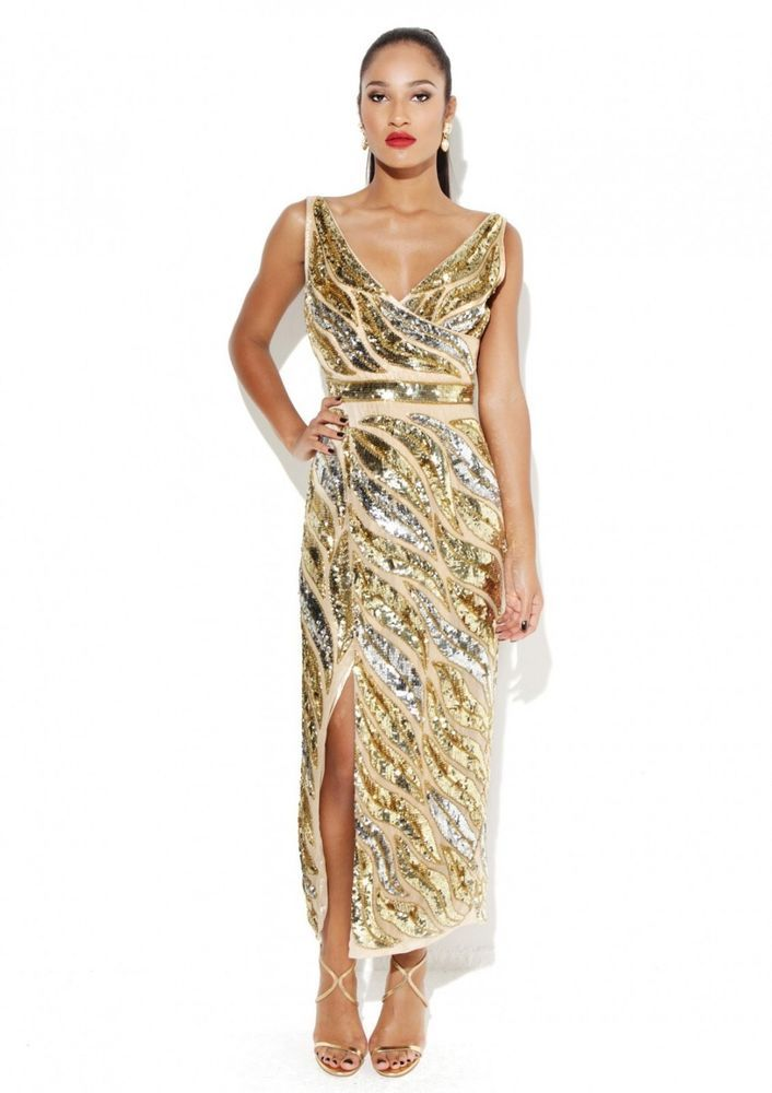 5771358950e Dress 12 BNWT Virgos Lounge Embellished Gold Wedding Bridesmaids Prom RRP  £200