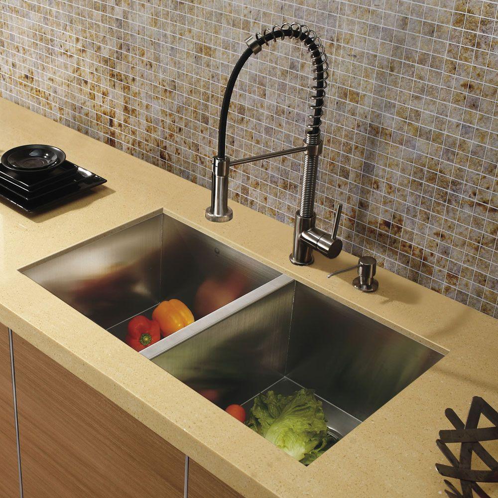 Vigo Undermount Stainless Steel Kitchen Sink Faucet And