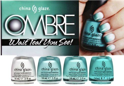 China Glaze Ombre - Wait Teal you See! - 4pc Set - 0.5oz / 15ml each:Amazon:Health & Personal Care.  I need this!!!