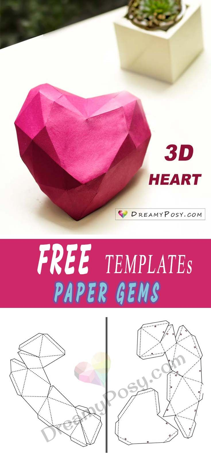 How to make 3D paper gems collection, FREE templates and tutorial ...