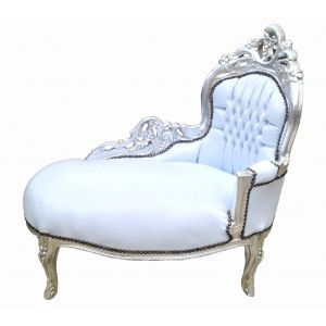 Baroque Chaise Longue White Leatherette With Silver Wood Chaise Leather Chaise Baroque Furniture