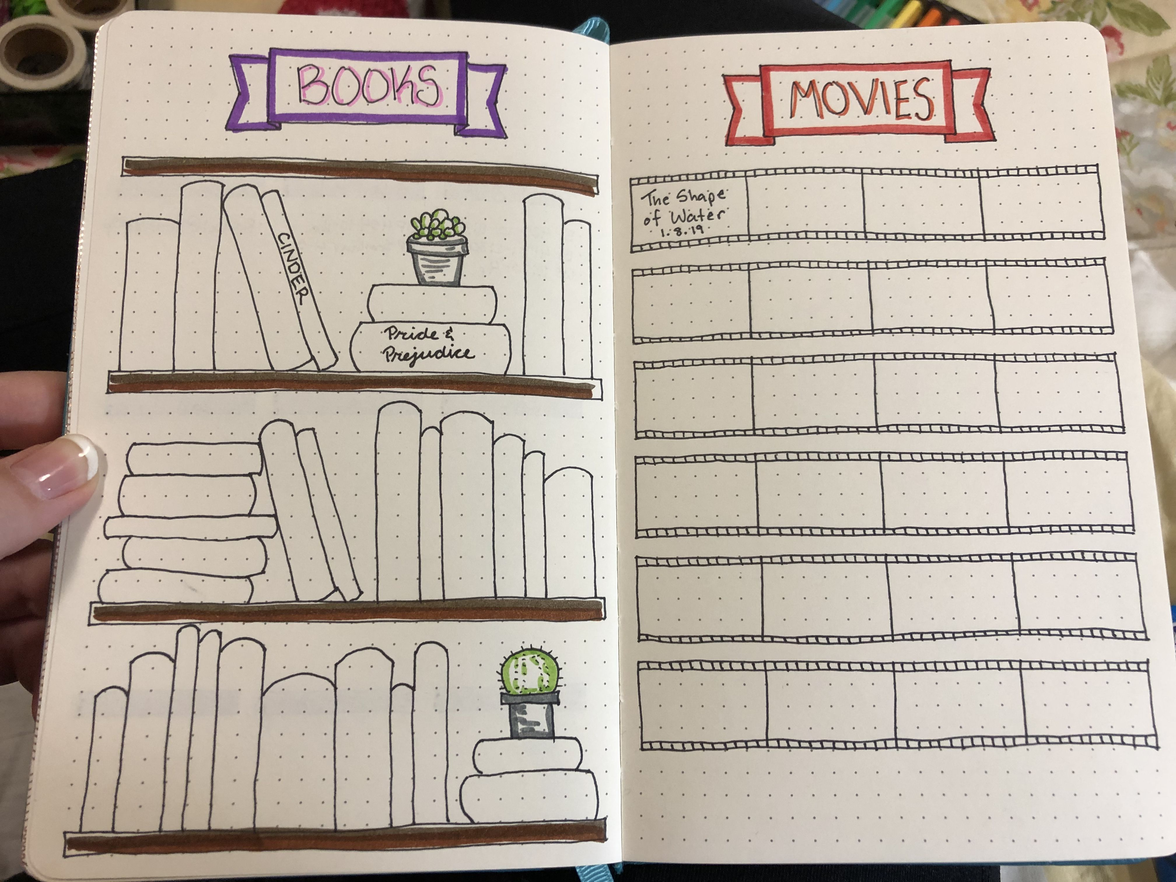 Book And Movie Tracker I Love The Design Came Up With By Combining Different Ideas From Pint Bullet Journal Inspiration Personalized Finding A Hobby