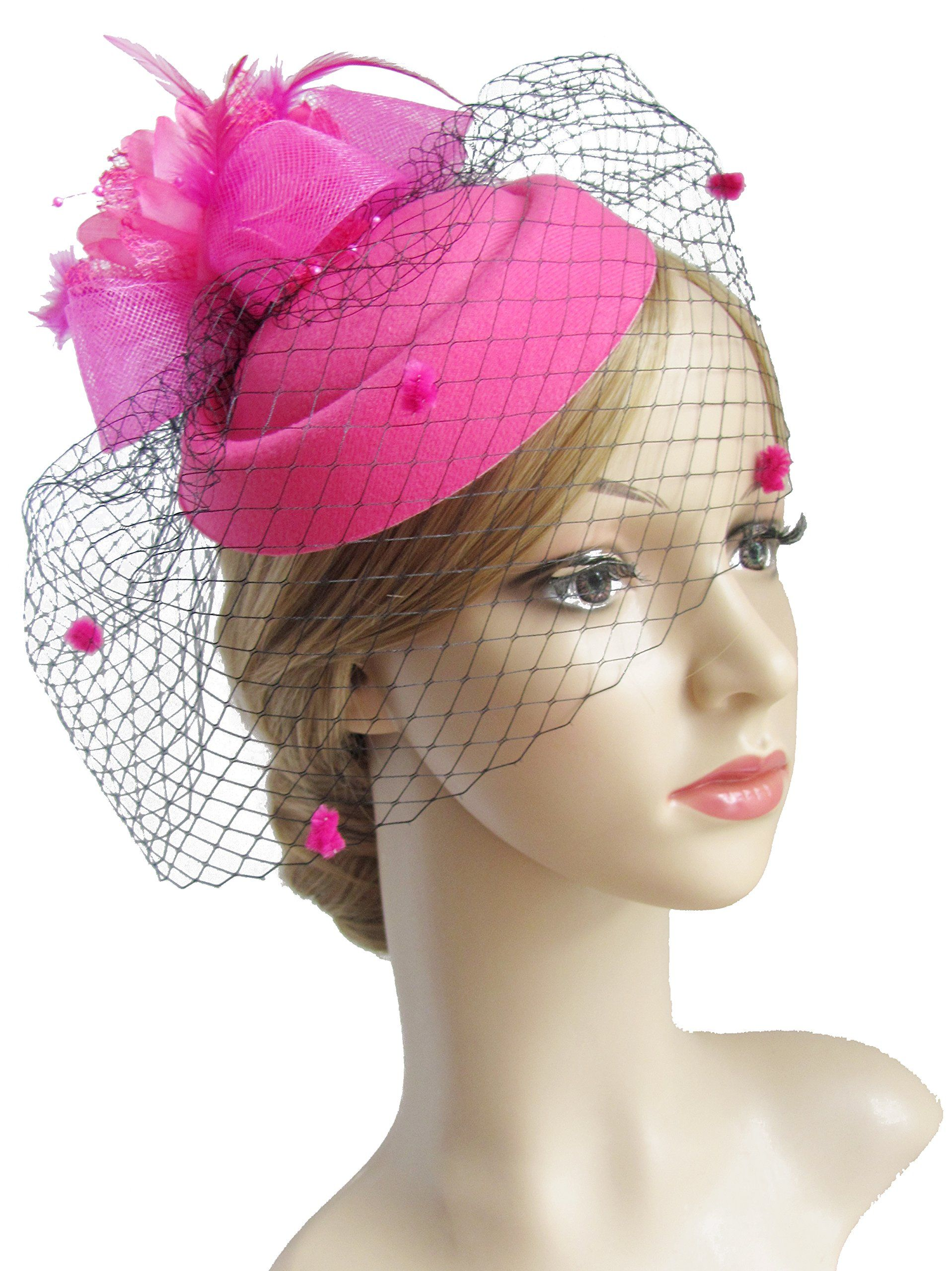 K.CLASSIC Fascinator Hair Clip Pillbox Hat Bowler Feather Flower Veil  Wedding Party Hat Tea Hat Rose     Want additional info  Click on the image. f8841ac6db61