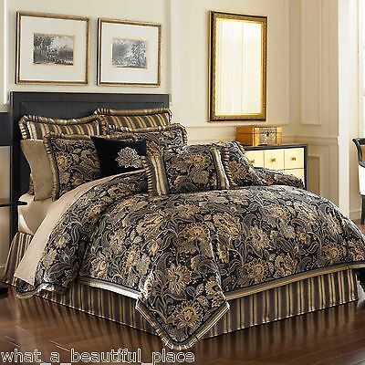 Photo of 10-Pc J. Queen KING Midnight Mist Comforter Set Damask Floral Black Beige Gold