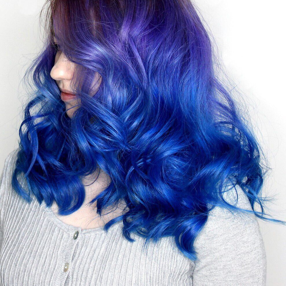 Purple to blue color melt blue in pinterest hair hair