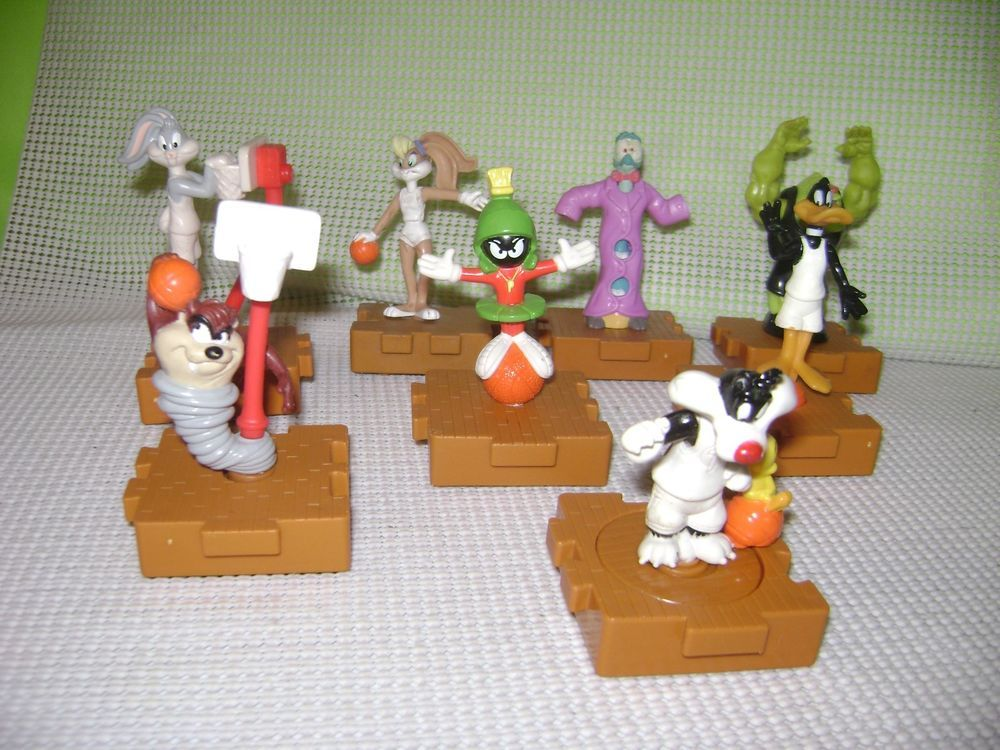 Mcdonalds 1996 Space Jam Happy Meal Toys Complete Toy Lot Of 8