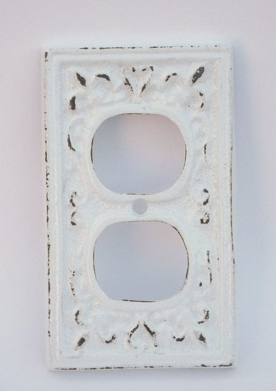 Outlet Cover Cast Iron Snow White Electrical Shabby Chic Nursery Decor