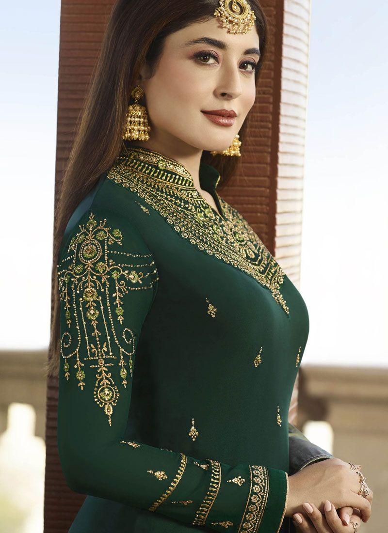 6075f70655 Georgette Satin Embroidered Salwar Suit in Green | Salwar Kameez in ...