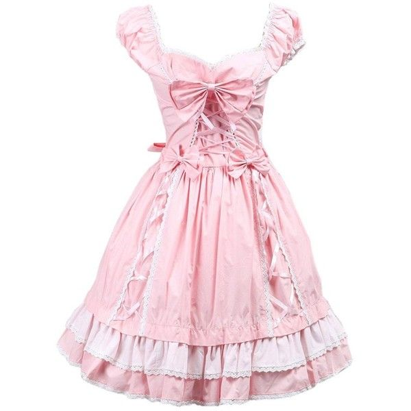 Partiss Women's Bow Sweet Ruffles Vintage Victorian Lolita Dress ($55) ❤ liked on Polyvore featuring dresses, frilled dress, pink cocktail dress, bow dress, vintage ruffle dress and pink frilly dress