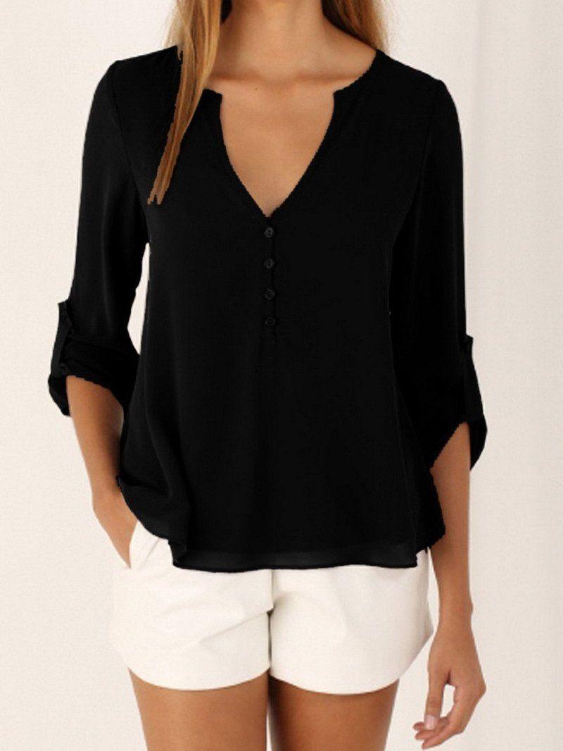 84ca975232d37 New Chiffon Blouse Women Plus Size 5XL V-Neck Solid Chiffon Sexy Women  Blouses Shirt Women Tops