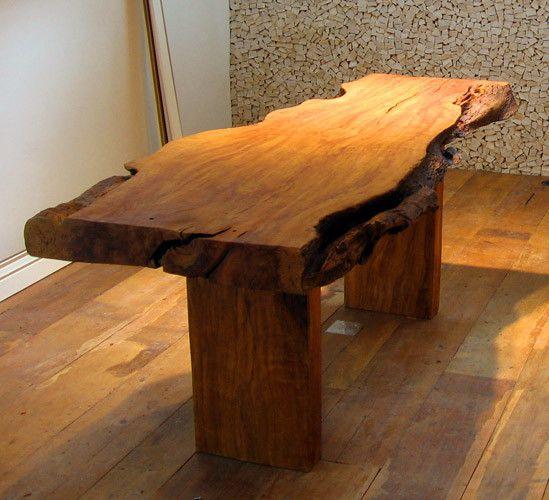 Mesa rustica irregular sweet home pinterest rusticas mesas y banco jardin - Mesa rustica madera ...