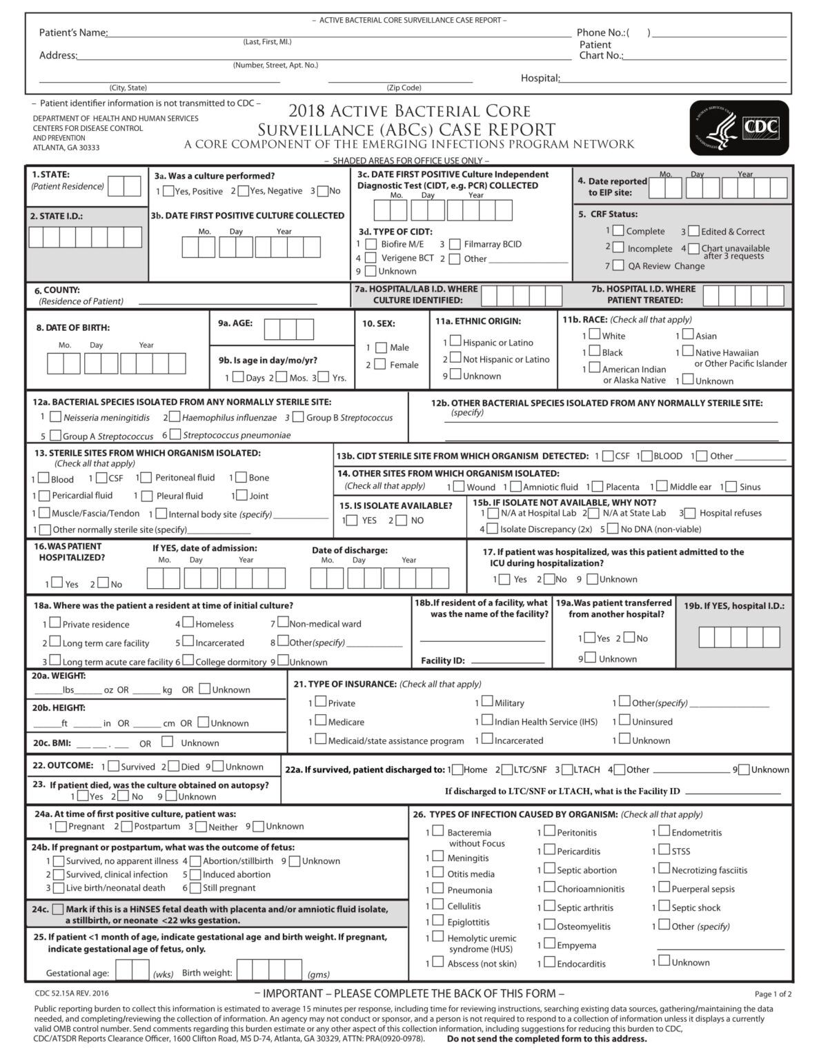 Free 15 Case Report Forms In