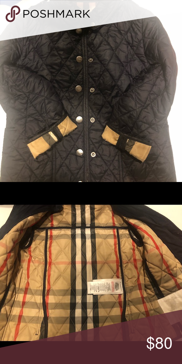 Navy Blue Burberry Quilted Kids Jacket 5yr Navy Blue