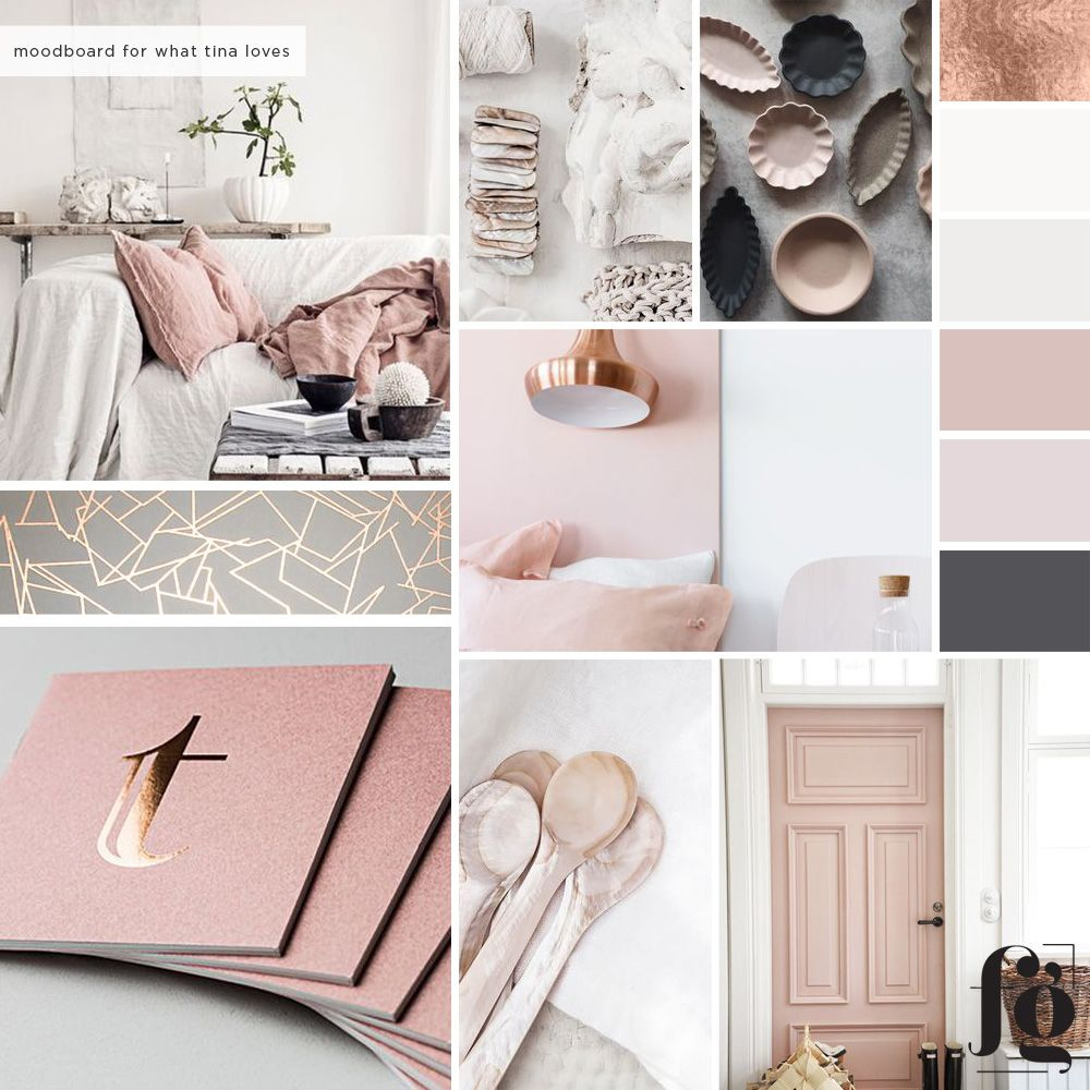 Mood board and color palette for What Tina Loves by Fancy Girl Design Studio