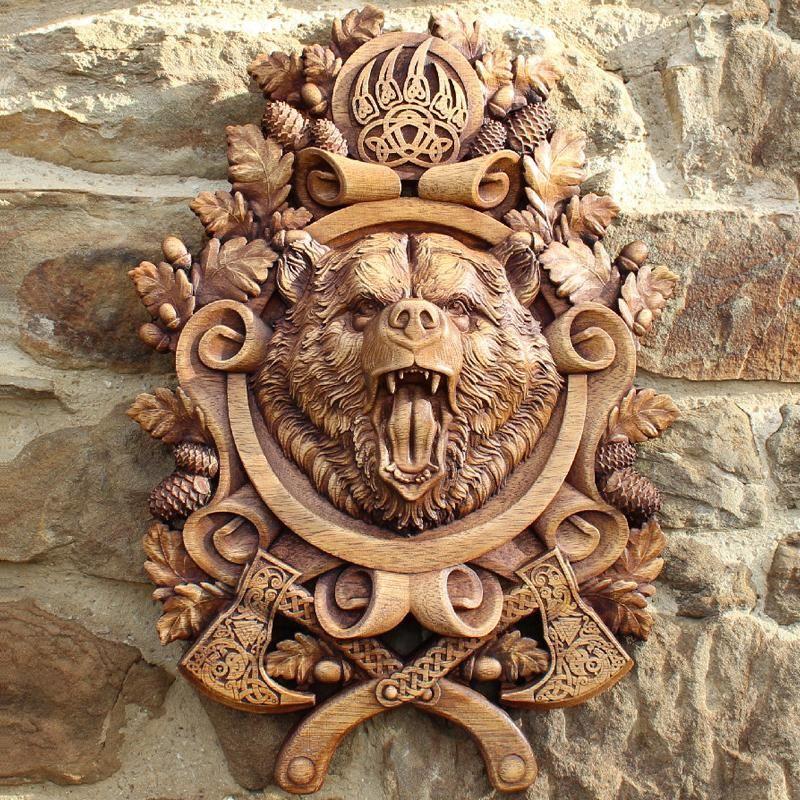 Carved Wood Berserker Bear Wood Carving Art Viking Art Viking Decor