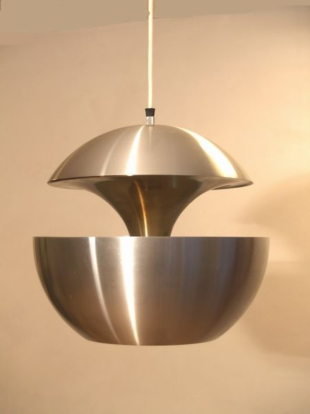 Bertrand Balas; Spun Aluminum and Optical Mirror 'Fontaine Jaillissante' lamp for RAAK, 1970.