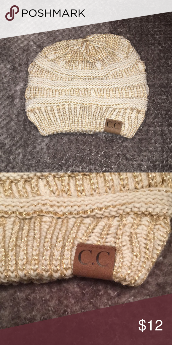 2ce394610c8ef2 C C BEANIE White Beanie with Gold Detail. Never been worn, perfect  condition! Accessories Hats